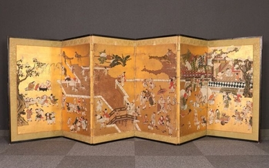 Byobu, Folding screen, room divider (1) - Gold, Paper, Wood - Lively and pittoresque six panel byobu depicting karako's many activities - Japan - Mid Edo period