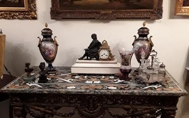 Console with Pietra Dura Marble-Top