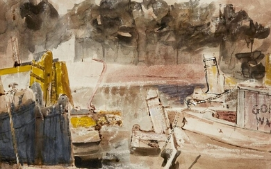 David Tindle RA, British b.1932 - Barges on Lagoon, 1953; pen and brown ink and watercolour on paper, signed, titled and dated on label on reverse of the frame, 30.5 x 37.5 cm (ARR) Provenance: AIA Gallery, London (according to the label attached...