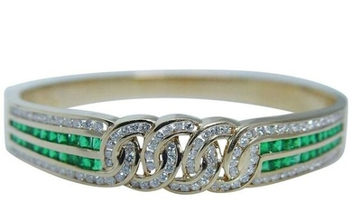 Diamond Colombian Emerald Bracelet 18K Gold Bangle