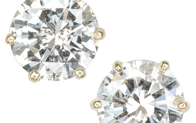 Diamond, Gold Earrings Stones: Round brilliant-cut diamonds weighing a...
