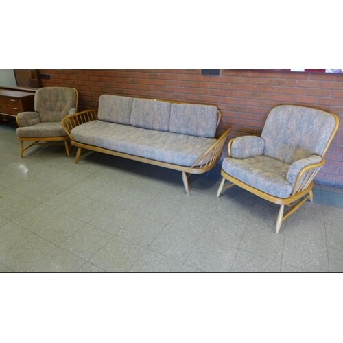 Ercol Elm and Beech Model 355 Studio Couch with Two Matching...