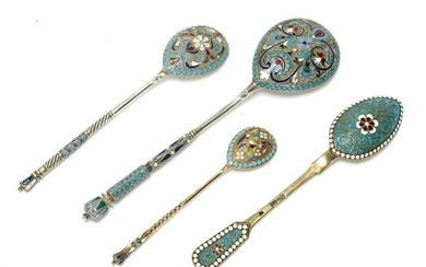 Four Russian silver and cloisonne enamel spoons