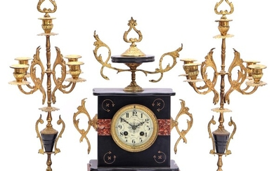 (-), French marble 3-piece mantel clock, marked Venot...