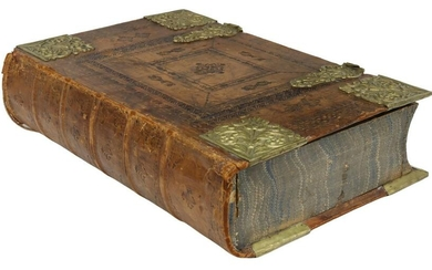 GERMAN EMBOSSED LEATHER BOOK-FORM TABLE BOX