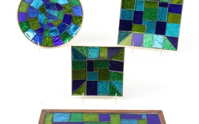 """Georges Briard """"Europa"""" Mosaic Stained Glass Dishes and Trinket Box, Mid-20th C."""