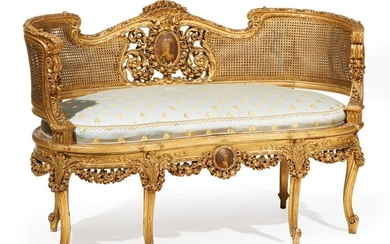 Giltwood and Cane Three-Piece Parlor Suite