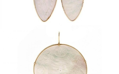 Gold and Mother-of-Pearl Pendant and Earrings