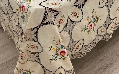 Hand embroidered Burano lace bedspread - 270 x 230 - Linen - Second half 20th century