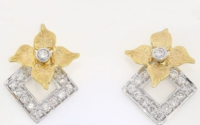 IGI Certified 18 K / 750 Yellow Gold Diamond Earrings