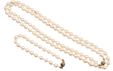 (-), Imitation pearl necklace, approx. 82 cm with...