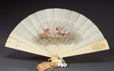 "Ivory fan ""Two Cherubs"" with monogram ""EW"" and silk cord,..."