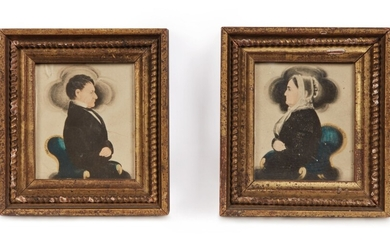 James Sanford Ellsworth, Pair of Miniature Portraits: Dark-Haired Gentleman and a Lady wearing a White Lace Cap
