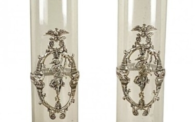 LARGE PAIR OF EMPIRE STYLE SILVER MOUNTED GLASS VASES