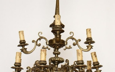 LOUIS XV STYLE 12 ARM BRONZE CHANDELIER C.1910