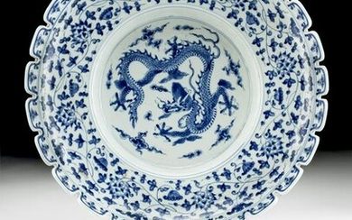 Large 18th C. Chinese Qing Porcelain Bowl with Dragon