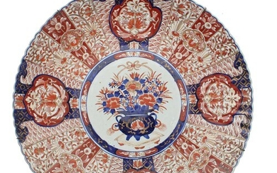 Large 19th century Japanese fluted Imari charger, decorated ...