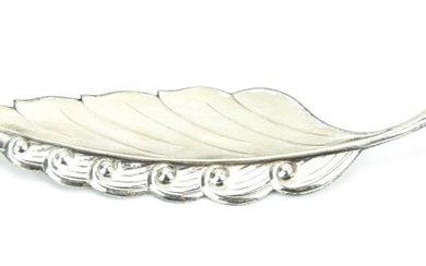 Large Art Deco Style Sterling Feather Brooch
