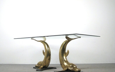 Large sculptural dining table, 1970s, dolphins