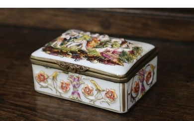 Late 19th century Italian Naples porcelain box and cover dec...