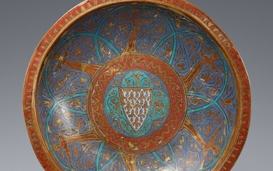 Limoges first half 13th century - An enamelled bronze dish with the French coat-of-arms