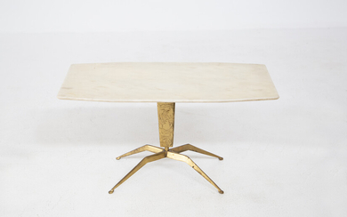 Marble and brass coffee table. Italy. 1950s