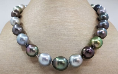 NO RESERVE - LARGE 12.2x14.8mm multi Peacock Baroque Tahitian pearls - Necklace