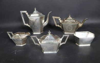 Old Newbury Crafters Faceted Sterling Coffee Set