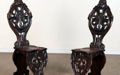 PAIR FRENCH WALNUT CARVED SIDE CHAIRS C.1890