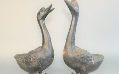 Pair of Cast Iron Geese Garden Ornaments height 17 1/2