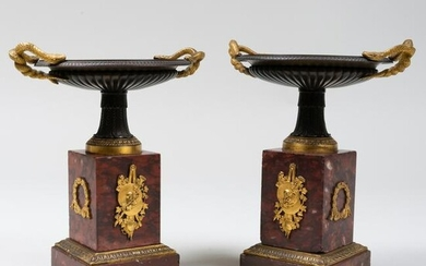 Pair of French Parcel-Gilt Bronze and Marble Tazze