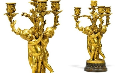 Pair of Large 19th C. French Figural Gilt Bronze Four