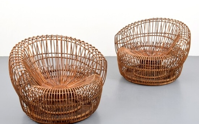 Pair of Rattan Lounge Chairs Attributed to Franco Albini