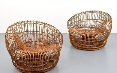 Pair of Rattan Lounge Chairs, Attributed to Franco