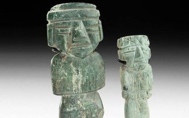 Pair of Teotihuacan Greenstone Figural Amulets