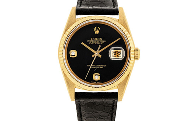 ROLEX, GOLD AND DIAMONDS DATE JUST WITH ONYX DIAL, REF. 16238