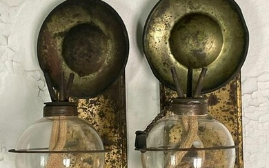 Rare Pair of Blown Glass and Tin Wall Sconces