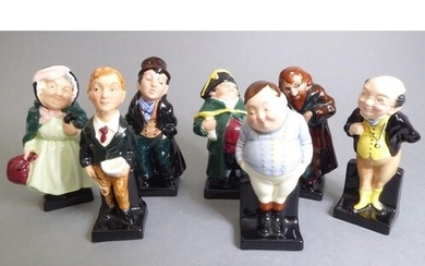 Seven Royal Doulton hand-decorated porcelain Charles Dickens...