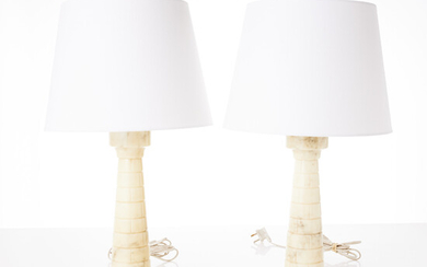 TABLE LAMPS, 1 pair, second half of the 20th century, Italy, carved alabaster in the shape of a chess tower, labeled.