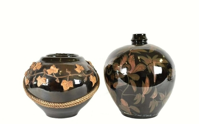 TWO LARGE FOLIATE DECORTATED BROWN GLAZED VASES