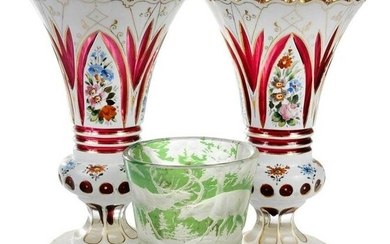 Three Bohemian Cut to Clear Glass Vases