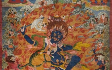 "Tibetan thangka ""Lhamo on the wild donkey destroys the enemies""..."