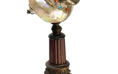Tiffany & Co. Nautilus Shell and Bronze Table Lamp