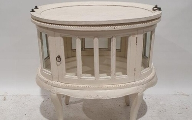 Tray-top display table painted white with lift-out tray, on ...