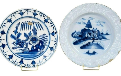 Two Blue and White Delftware Chargers