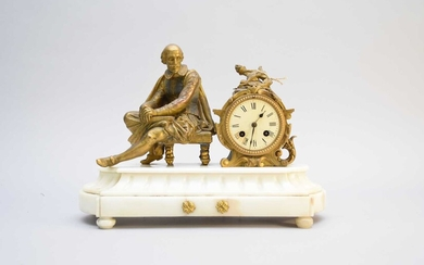 Two French bronze and marble figural mantel clocks