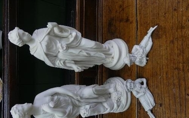 Two early 20thC Parian ware Figures, one depicting a classic...