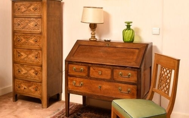 Walnut and walnut veneer chest of drawers with inlaid decoration...