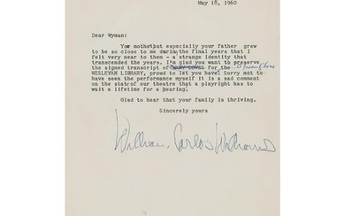 William Carlos Williams Typed Letter Signed