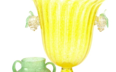 Yellow Glass Vase with Grape and Vine Form Handles, and Green Bubble Glass Vase